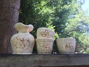 White Rose Flower Sake Set