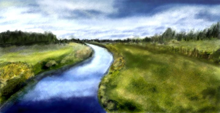 Beautiful River Landscape - Sarkis Star Art