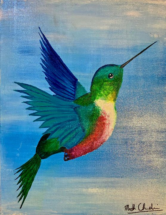 Hummingbird; Canvas - Sharon High School Hearts and Crafts