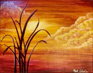 Reeds at Sunset; Canvas
