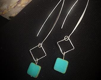 Elegant Turquoise & Silver Earrings - Angela Brown