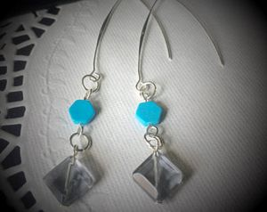 Turquoise & Gray Facet Bead Earrings