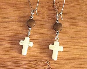 Natural Stone Cross Earrings
