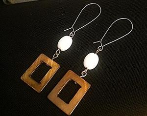 Brown Mother of Pearl Shell Earrings