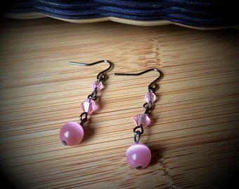 Pink Cats Eye Earrings - Angela Brown