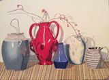 Vases colored pencil painting.