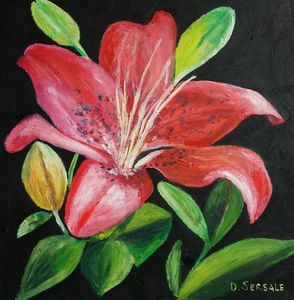 Red flower original oil painting