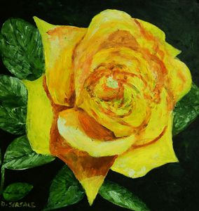 Original oil painting rose
