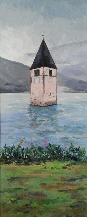 """Lago di carezza"" oil painting - Daniela Sersale"