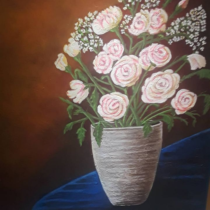 Pink Roses on Vase - Magic Brush Art Studios