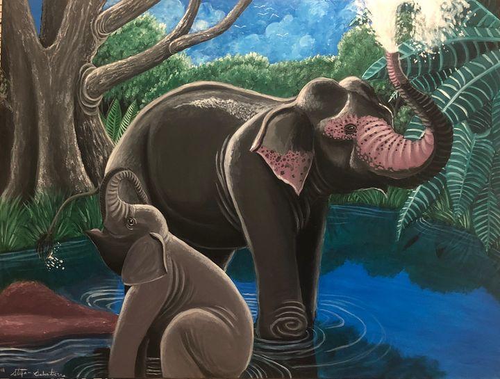 Elephant Bath - Stegosaurus1412