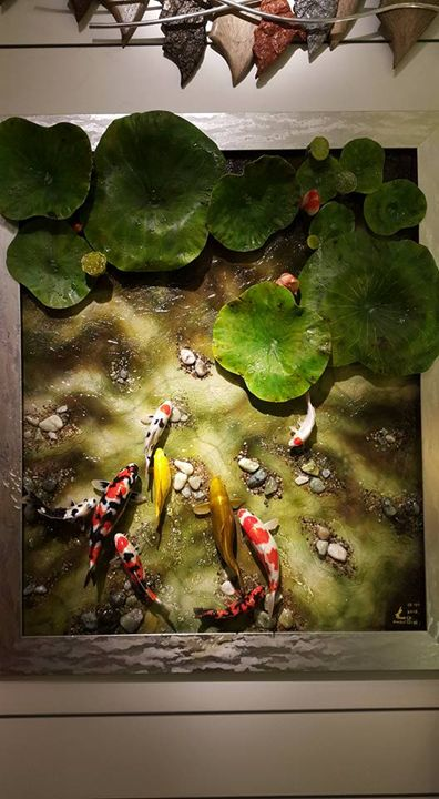 Japanese Koi With Lotus Plant - RL ART