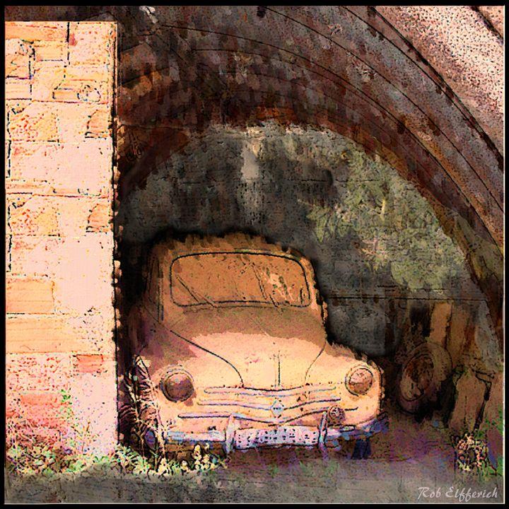 Old car in a barn - digitalart Rob Elfferich