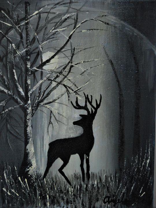 Deer at winter night - AlecA Art