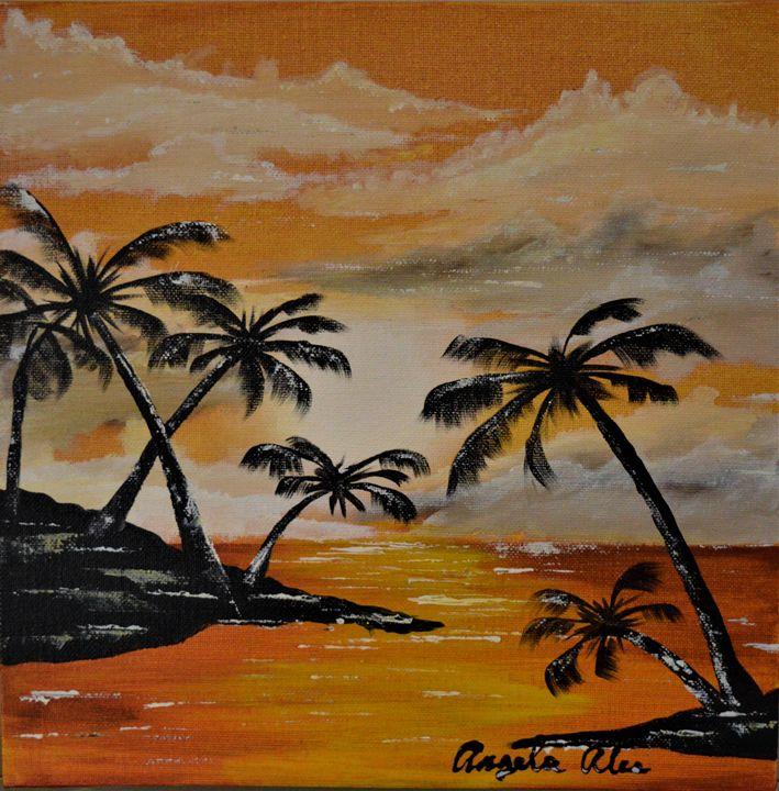 Orange night at the ocean - AlecA Art