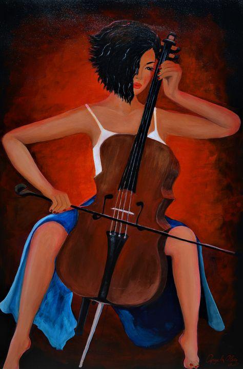 Girl With Cello - AlecA Art