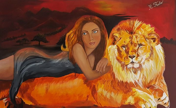 Lion and a girl - AlecA Art
