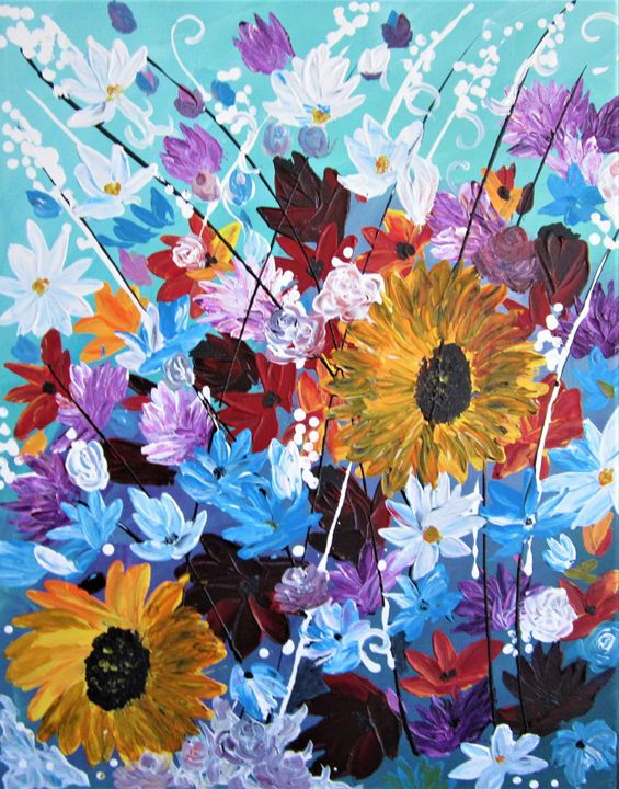Abstract Flowers - AlecA Art