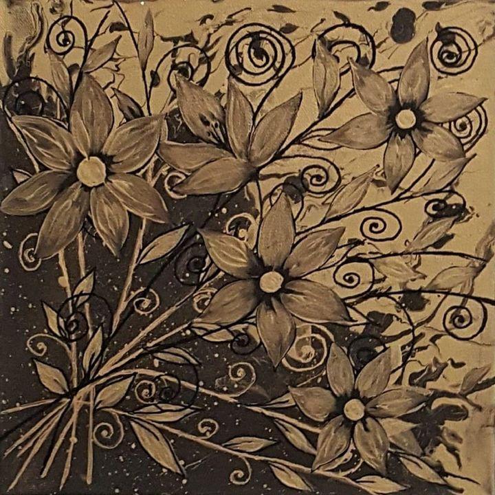Golden Flowers - AlecA Art