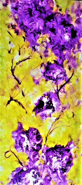 Abstract Purple Flowers - AlecA Art
