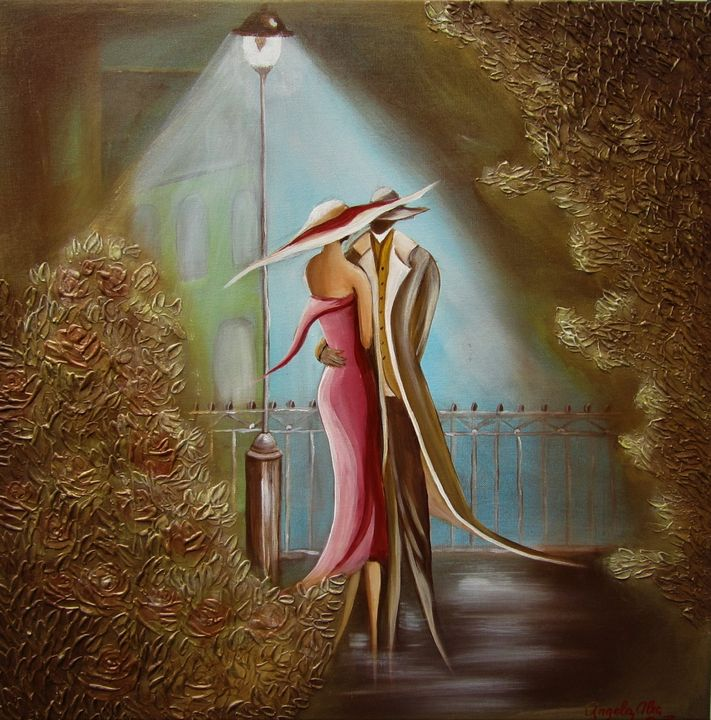 "SOLD Gold Life "" In The Red Dress"" - AlecA Art"