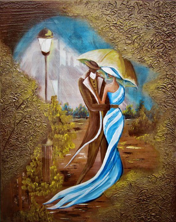 "Gold Life ""In a Bue Dress"" - AlecA Art"