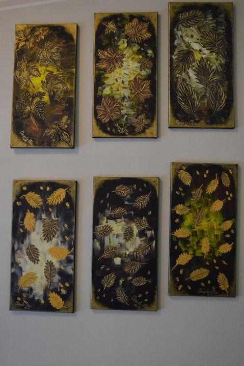"Gold Life ""Fall Leaves - AlecA Art"