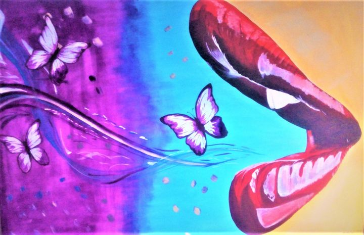 Lips and Butterflies - AlecA Art