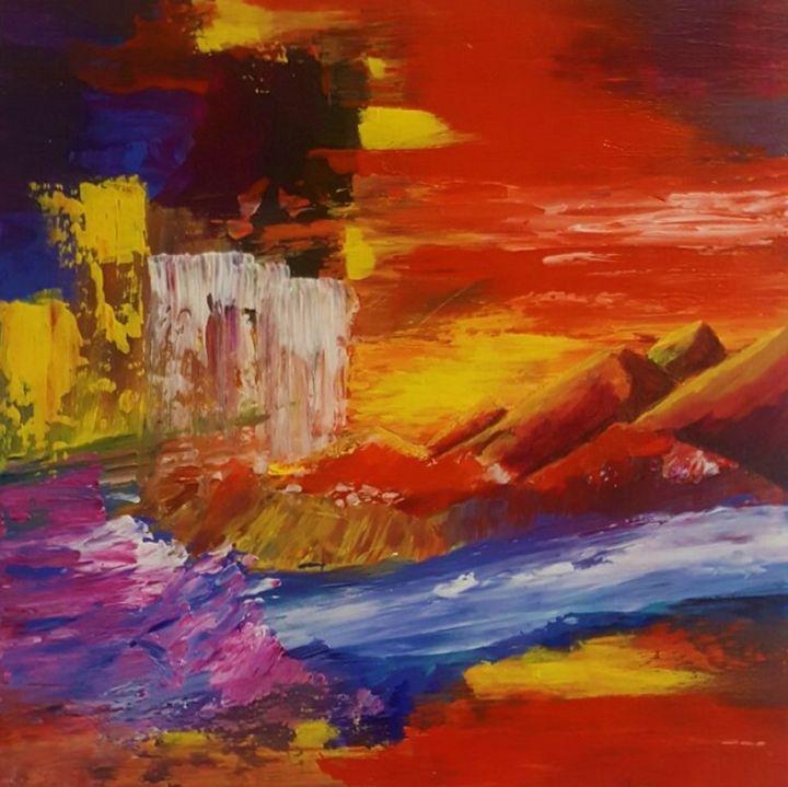 Waterfall. Landscape Red - AlecA Art