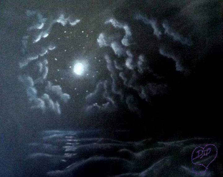 moon lit waves - Paintsbytae