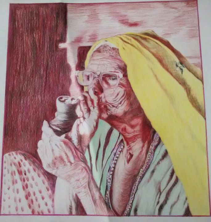 Old smoker - Kiran sari Choudhary art