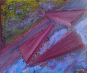 Purple Landscape 3 Flying Triangles