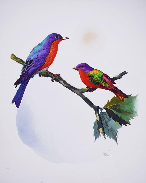 Eastern Bluebird & Painted Bunting - Shivani Verma