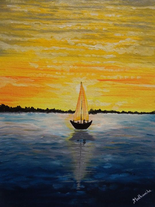 Sunset on a river - Madhumita's Paintings