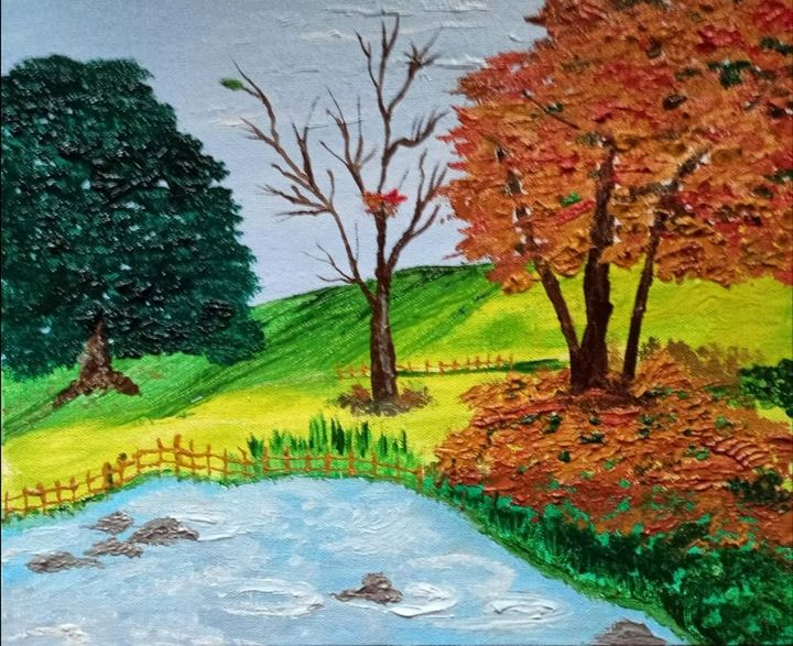 Brook and meadow - Madhumita's Paintings
