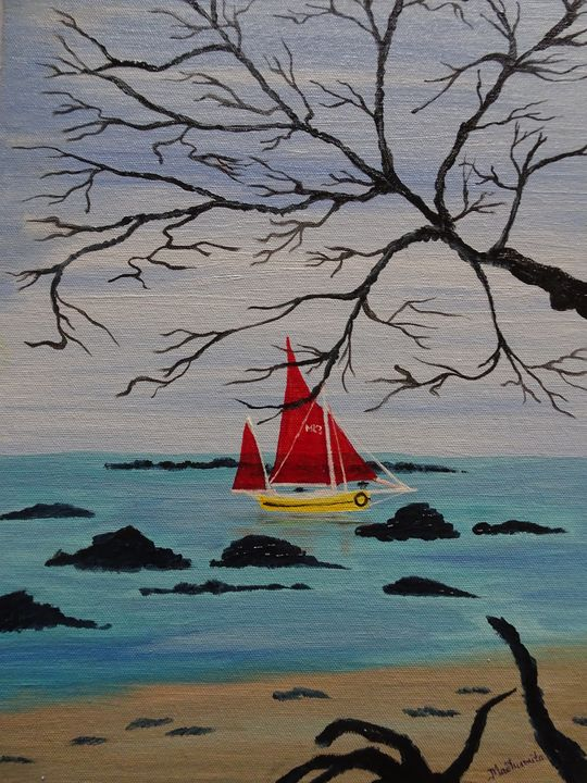 The yellow yacht - Madhumita's Paintings