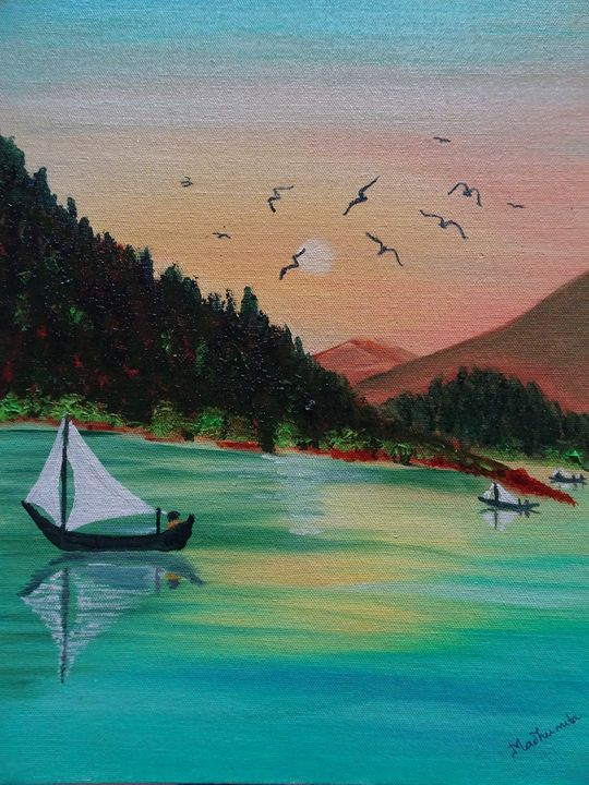 Birds on a lake - Madhumita's Paintings
