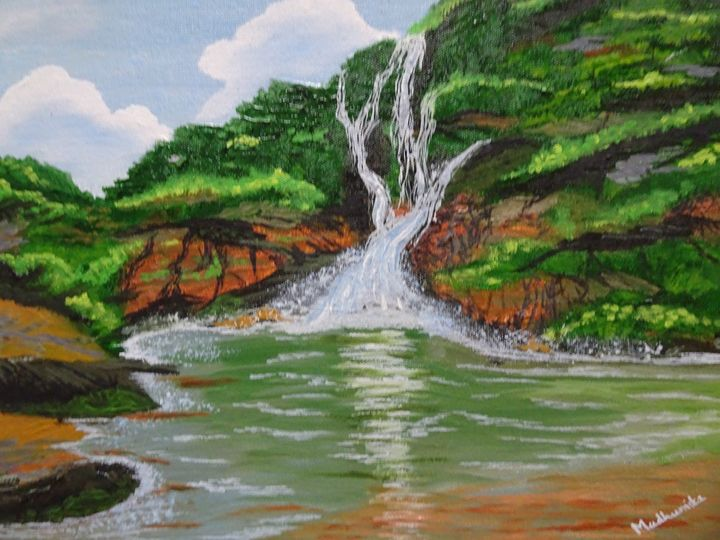 Dudhsagar waterfall - Madhumita's Paintings