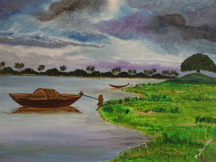 Boat on the river - Madhumita's Paintings