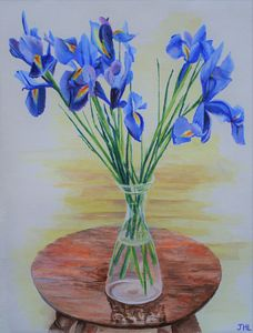 Blue Irises on a Table
