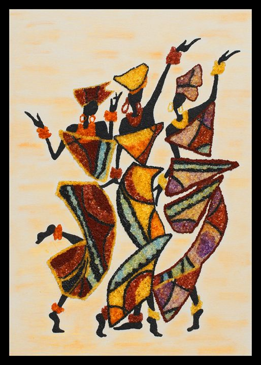African dancers - Mozambique Gemstone Artwork Gallery
