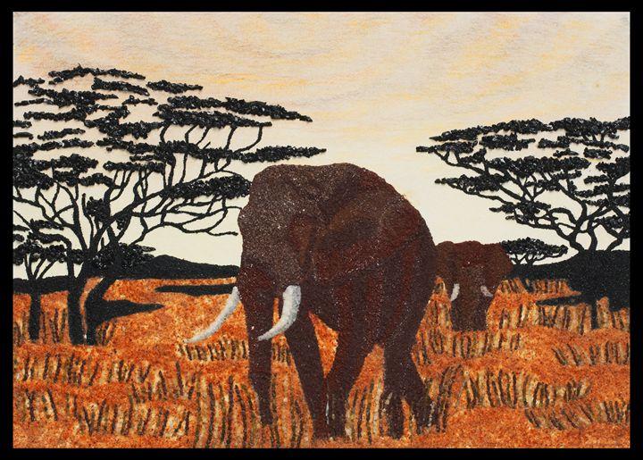 Elephants savanna - Mozambique Gemstone Artwork Gallery