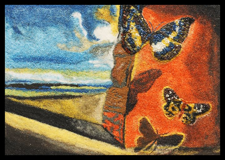 Landscape with butterfly's - Mozambique Gemstone Artwork Gallery