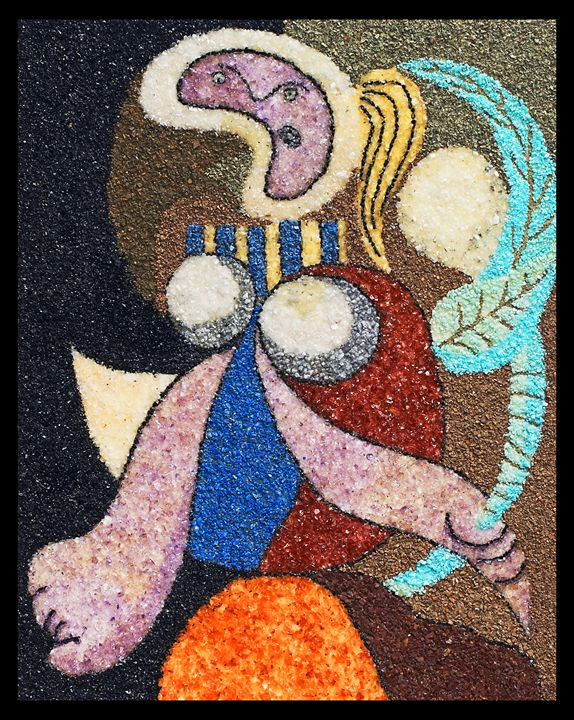 Woman with flower (Pablo Picasso) - Mozambique Gemstone Artwork Gallery
