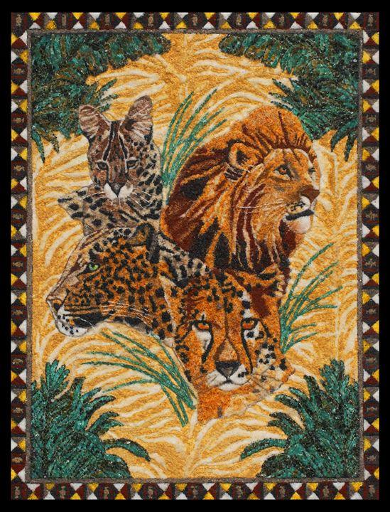 Wild Cats - Mozambique Gemstone Artwork Gallery