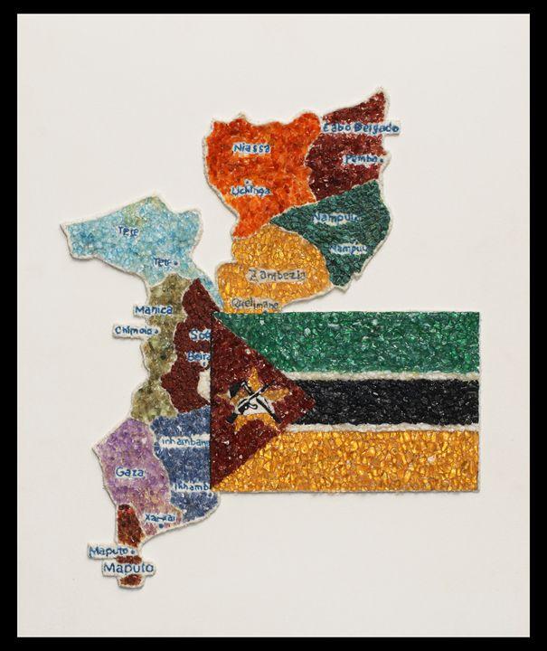 Mapa de Moçambique com Bandeira - Mozambique Gemstone Artwork Gallery