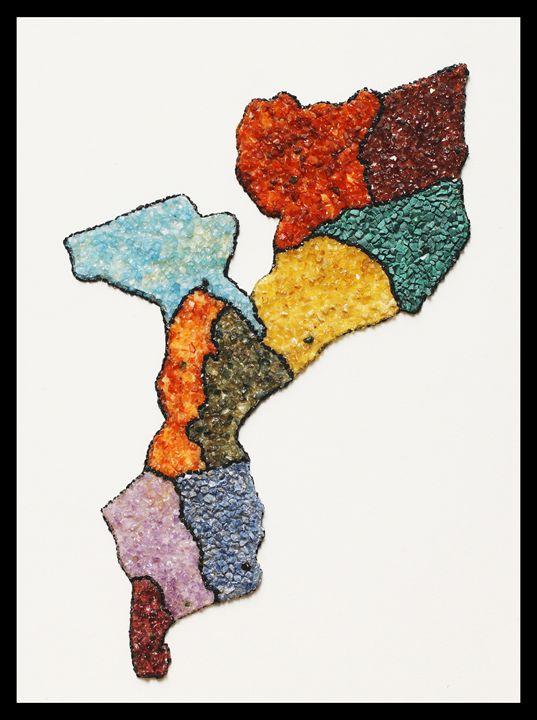 Mapa de Moçambique - Mozambique Gemstone Artwork Gallery