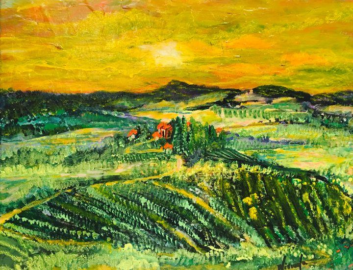 Sunset by the vineyard - Nirmalasgallery