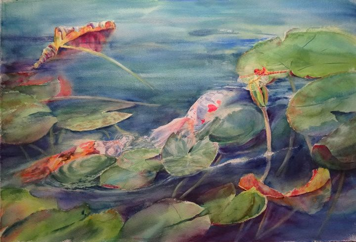 Playing Pond Tag - MB Watercolors