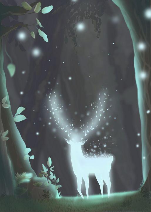 Deer spirit in the Woods - Nature Fairy Art